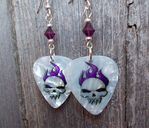 Skull with Purple Flame Hair Guitar Pick Earrings with Purple Crystals