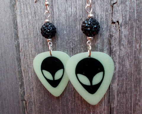 Glow in the Dark Alien Head Guitar Pick Earrings with Black Pave Beads
