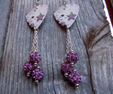 Purple and Pink Star Guitar Pick Earrings with Purple Pave Bead Dangles