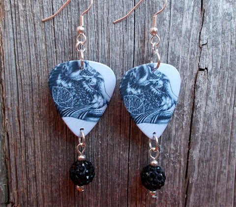 Cougar Guitar Pick Earrings with Black Pave Bead Dangles