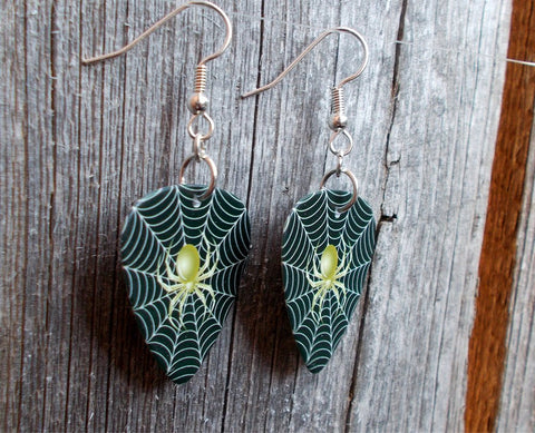 Spider on a Spiderweb Guitar Pick Earrings