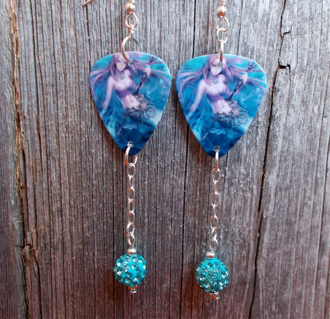 Mermaid with Staff in her Hand Guitar Pick Earrings with Turquoise Pave Dangles