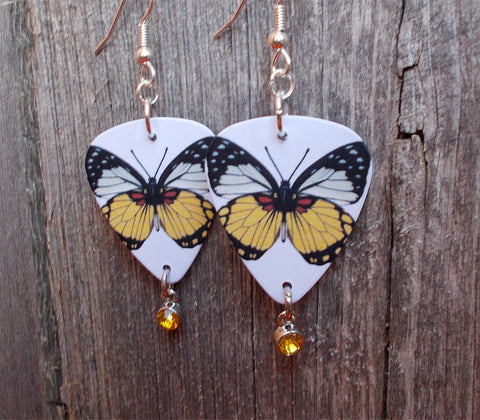 Yellow Butterfly Guitar Pick Earrings with Yellow Crystal Charms