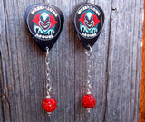 Wanna Clown Around Guitar Pick Earrings with Red Pave Bead Dangle
