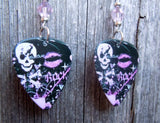 Girly Skull Rock n Roll Guitar Pick Earrings with Pink Swarovski Crystals