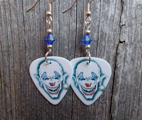 Bald Evil Clown Guitar Pick Earrings with Blue Swarovski Crystals