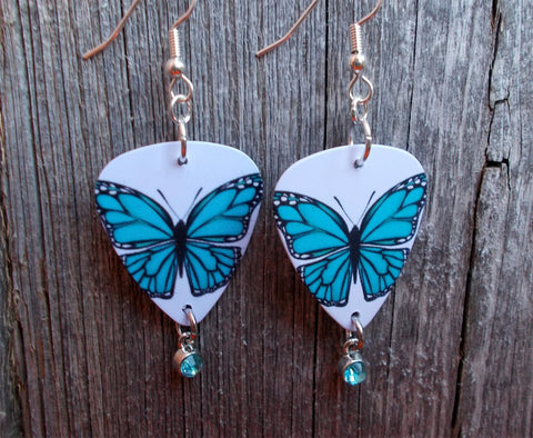 Aqua Blue Butterfly Guitar Pick Earrings with Aqua Crystal Charm Dangles