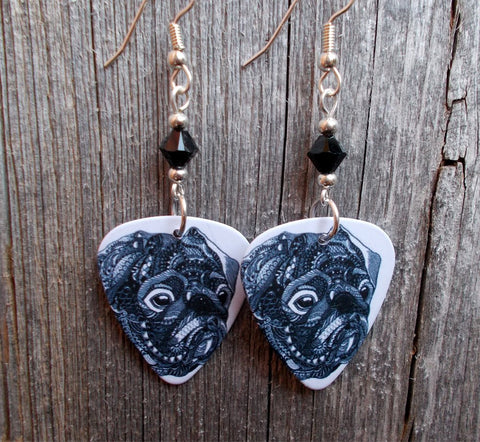 Pug Guitar Pick Earrings with Black Swarovski Crystals