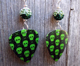 Bright Green Skull Guitar Pick Earrings with Green Ombre Pave Beads