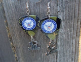 Navy Ensignia Camo I Love My Soldier Guitar Pick Earrings