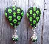 Bright Green Skull Guitar Pick Earrings with Green Ombre Pave Bead Dangles