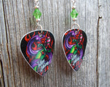 Tattoo Style Purple Snake Guitar Pick Earrings with Green Crystals