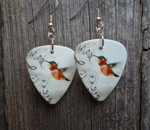 Musical Hummingbird Guitar Pick Earrings