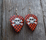 Skull and Crossbones on Checkered Background Guitar Pick Earrings