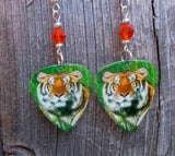 Tiger in the Grass Guitar Pick Earrings with Orange Swarovski Crystals