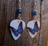Blue and Purple Butterfly Guitar Pick Earrings with Capri Blue Swarovski Crystals
