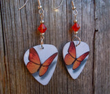 Orange Butterfly Guitar Pick Earrings with Orange Swarovski Crystals