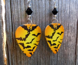 Flying Bats Guitar Pick Earrings with Black Swarovski Crystals