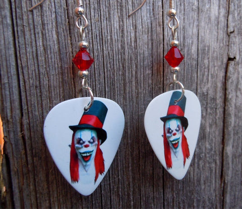 Evil Clown with Top Hat Guitar Picks with Red Swarovski Crystals