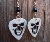 Skull Coming Out Of The White Background Guitar Pick Earrings with Black Swarovski Crystals