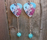 Pin Up Woman with Her Dog Guitar Pick Earrings with Aqua Blue Pave Dangle