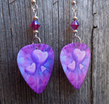 Pink and Purple Hearts Guitar Pick Earrings with Fuchsia ABx2 Swarovski Crystals