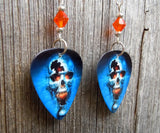 Skull on Fire Guitar Pick Earrings with Orange Swarovski Crystals