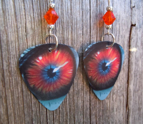 Orange Eyeball Guitar Pick Earrings with Orange Swarovski Crystals