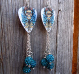 Cowboy Skull with Guns Guitar Pick Earrings with Teal Pave Bead Dangles