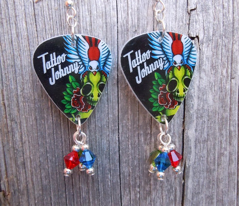 Tattoo Johnny Old School Tattoo Style Skull and Bird Guitar Pick Earrings with Crystal Dangles