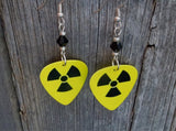 Yellow and Black Nuclear Symbol Guitar Pick Earrings with Black Swarovski Crystals