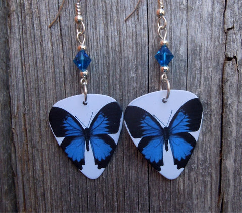 Blue Butterfly Guitar Pick Earrings with Capri Blue Swarovski Crystals