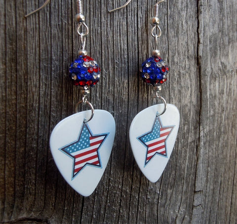 Patriotic Star Guitar Pick Earrings with American Flag Pave Beads