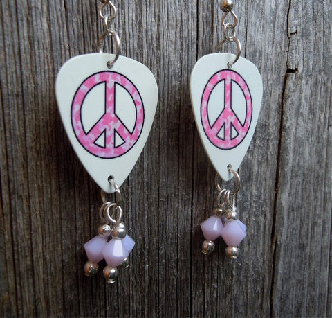 Pink Camo Peace Sign Guitar Pick Earrings with Light Pink Swarovski Crystal Dangles