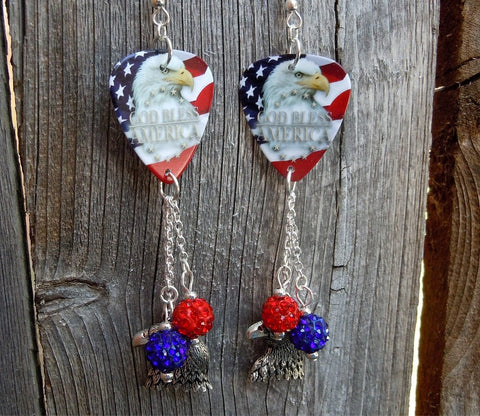 God Bless America Eagle American Flag Guitar Pick with Pave Bead Dangles