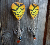 Flying Bats Guitar Pick Earrings with Charm and Swarovski Crystal Dangles