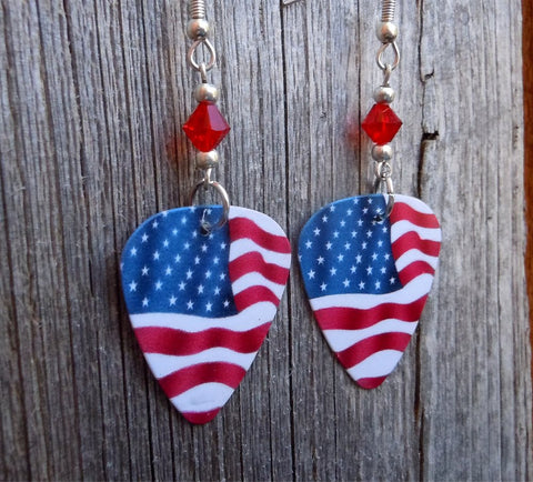 American Flag Guitar Pick Earrings with Red Swarovski Crystals