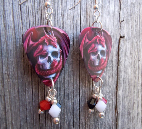 Red Dragon Wrapped Around A Skull Guitar Pick Earrings with Swarovski Crystal Dangles