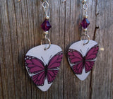 Purple Butterfly Guitar Pick Earrings with Amethyst Swarovski Crystals