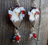 Bald Eagle on American Flag Guitar Pick Earrings with Swarovski Crystal Dangles