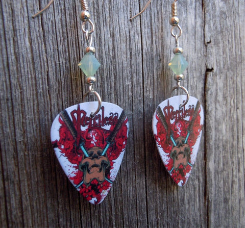 Merciless Skull with Swords Guitar Pick Earrings with Opal Green Crystals