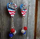 Motorcycle on Waving American Flag Guitar Pick with Red White and Blue Pave Bead Dangles