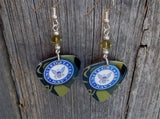 Navy Ensignia Camo Guitar Pick Earrings with Green Swarovski Crystals