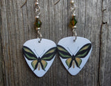 Yellow and Green Butterfly Guitar Pick Earrings with Bicolor Swarovski Crystals