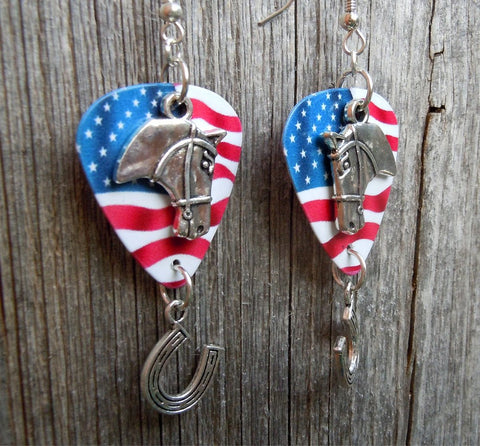Horse Head and Horse Shoe Charm Guitar Pick Earrings