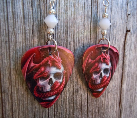 Red Dragon Wrapped Around A Skull Guitar Pick Earrings with White Swarovski Crystals
