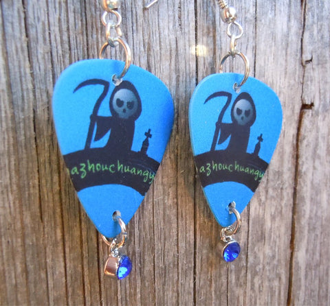Grim Reaper Guitar Pick Earrings with Blue Crystal Charms