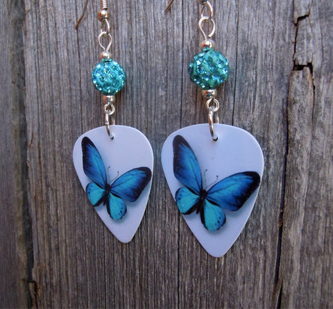 Aqua Blue Butterfly Guitar Pick Earrings with Aqua Pave Beads