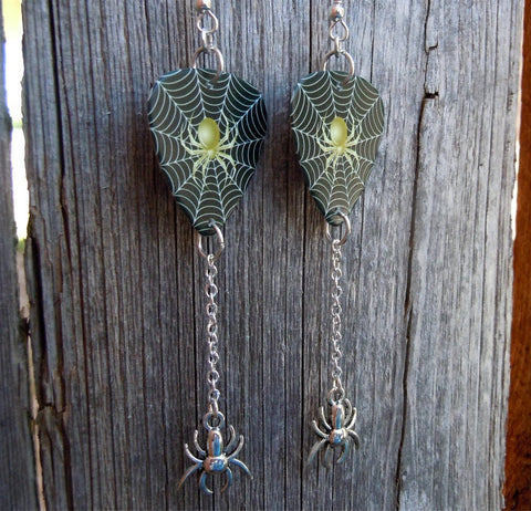 Spider on a Spiderweb Guitar Pick Earrings with Silver Spider Charm Dangles