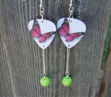 Purple Butterfly Guitar Pick Earrings with Green Rhinestone Dangles